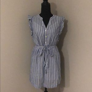 Cap sleeve blue mini dress with white stripe.